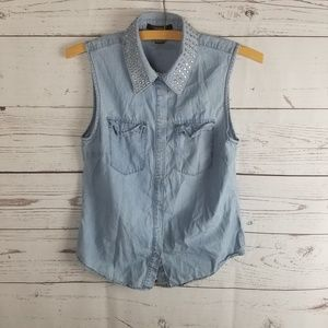⚡Forever 21 Chambray Collared Sleeveless Top Studs